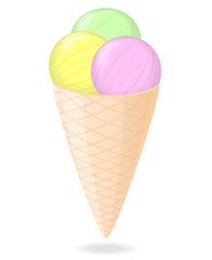 Three colorful ice cream balls in waffle cone isolated on white