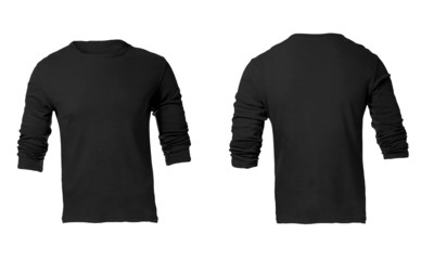 Men's black long sleeve t-shirt template
