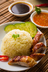 singapore chicken rice , traditional singaporean food with items
