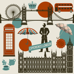 Papiers peints Doodle London Landmarks, Symbols and Icons