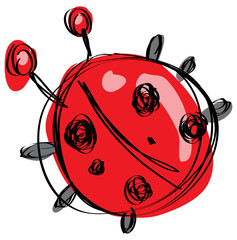 Cartoon red baby ladybug in a naif childish drawing style