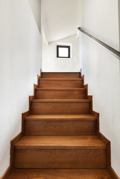 interior rustic house, wooden staircase view