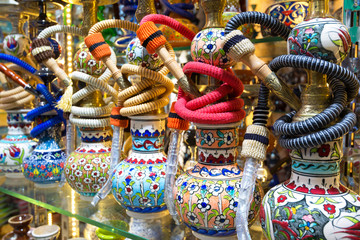 Bright colorful hookahs in the Grand Bazaar, Istanbul, Turkey