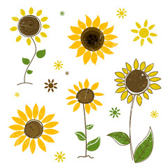 Vector Illustration of Abstract Sunflowers