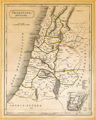 Ancient Palestine Map Printed 1845