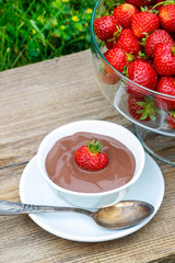 Creamy chocolate pudding on wooden table in the garden