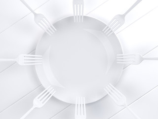 Using multiple  dip white fork into the white dish.