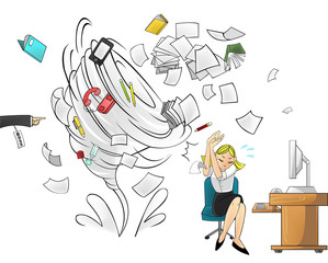 Hurricane of workload in the office - woman version