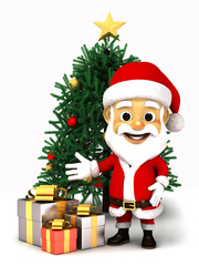 Santa claus with box of gifts and Christmas tree