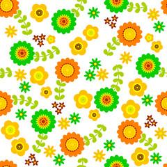 北欧風 花柄 パターン (ビタミンカラー)