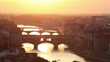 Fototapete - Bridges of Florence over the Arno River at sunset, Italy
