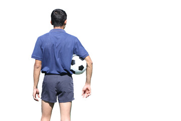 Isolated back of a football referee holding the ball overwhite b