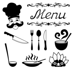 Icons set for restaurant, cafe.
