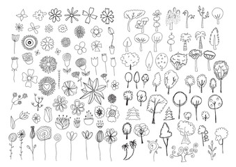 Set of flowers and trees doodles