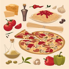Italian food. Objects set