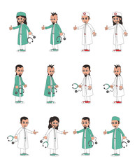 doctor and surgeon cartoon character