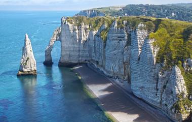 Chalk cliffs at Cote d'Albatre. Etretat