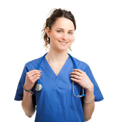 Smiling nurse isolated on white