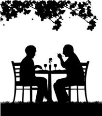 Lovely retired elderly couple having a romantic dinner