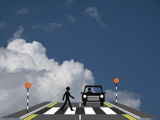 Pedestrian walking across a zebra crossing