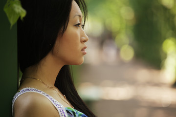 portrait young asian woman outdoor