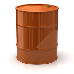 Orange oil barrel isolated on white background