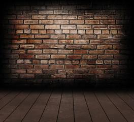 Vintage brick wall and wood floor texture.