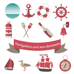 navigation and sea icons and elements with an anchor, the ships,