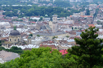 Panorama of Lvov old town with Dominicn church