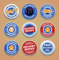 Delivery buttons and badges. EPS10.