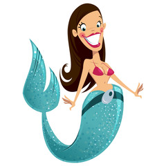 Beautiful happy smiling sexy brunette cartoon mermaid
