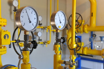 Closeup of pressure meter on natural gas pipeline