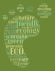 Tag or word cloud ecology related in shape of footprint