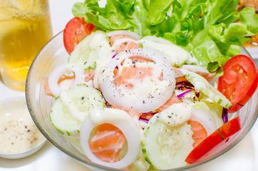 Salad - smoked salmon with vegetables