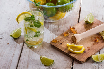 Drink made of citrus fruit with ice