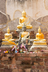 Three buddha image in old temple