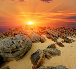 stones desert on sunset
