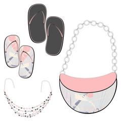Shoes, handbags, jewelry, plus background.