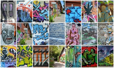 Wall Murals Graffiti collage collage...graffiti