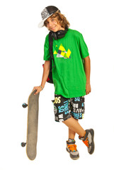 Cheerful schoolboy teen with skateboard