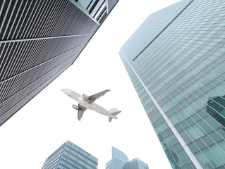 the airplane with the city