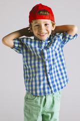 Portrait of a little boy in studio.