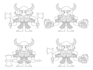 Dwarfs with beer mugs and axes, outline