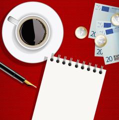 carnet - bloc notes - vue du dessus - brasserie - tasse de café - argent - addition