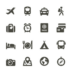 Traveling and transport icons for Web and Mobile App. Set 4