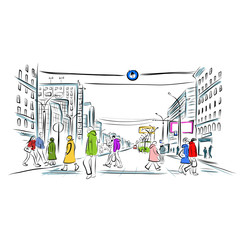 Sketch of street with pedestrians for your design