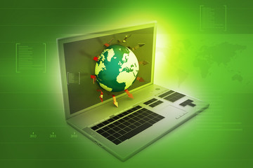 laptop with world on abstract digital background