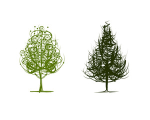 Two green trees, sketch for your design