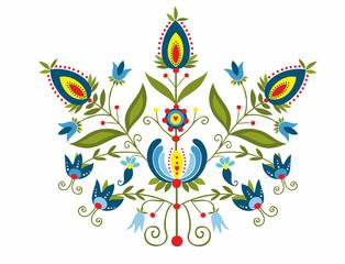 Polski wzór z ozdobnymi  kwiatami