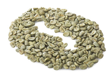 Wall Mural - Coffee beans raw close up on the white